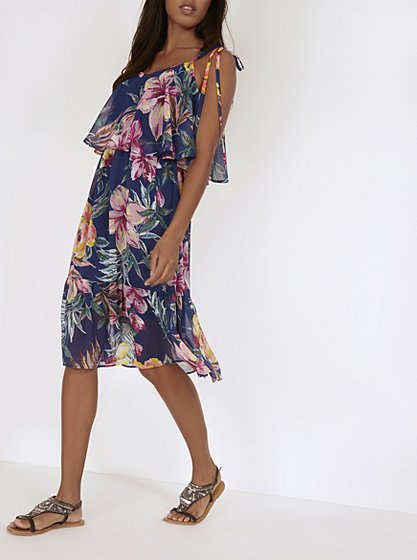 Floral ruffle layer dress women george at asda for George at asda wedding dresses