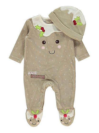 christmas pudding sleepsuit set baby george at asda. Black Bedroom Furniture Sets. Home Design Ideas