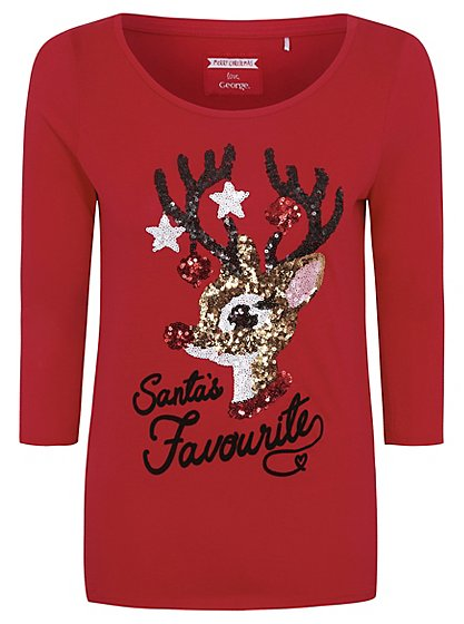 Christmas Sequin Rudolph Top   Women   George at ASDA