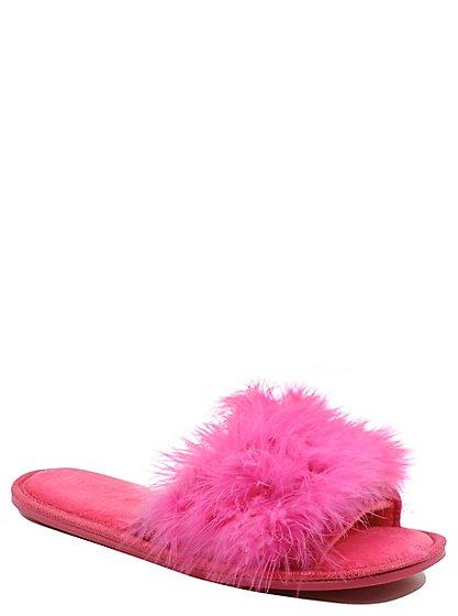 tickled pink fluffy slippers women george at asda. Black Bedroom Furniture Sets. Home Design Ideas