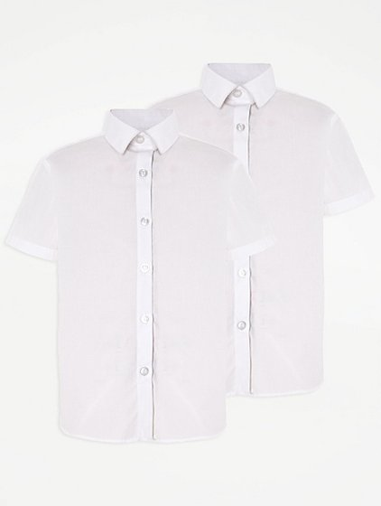 Girls School 2 Pack Short Sleeve Shirts White School