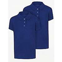 Girls School 2 Pack Scallop Polo Shirts Blue School