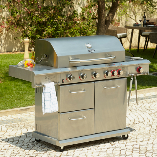 Uniflame Dual Sear 6 Burner And Side Gas Barbecue Home