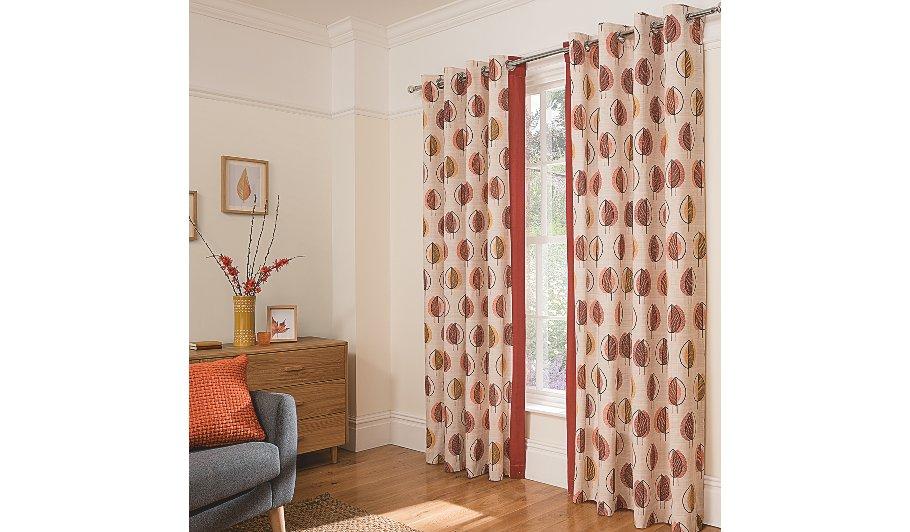 George Home Orange Scandi Leaf Curtains