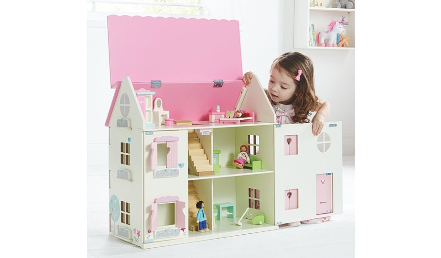George Home Wooden Dolls House With Furniture