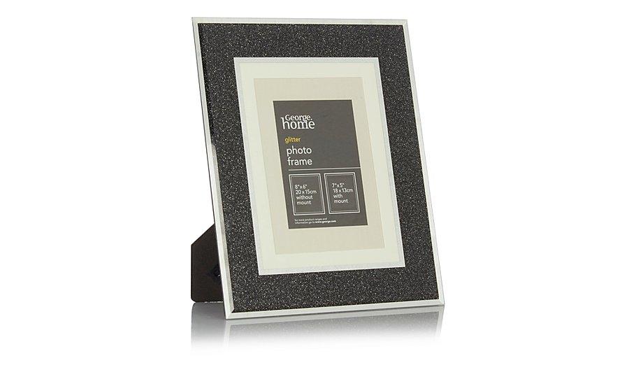 george home black glitter glass frame 8 x 6 inch home. Black Bedroom Furniture Sets. Home Design Ideas