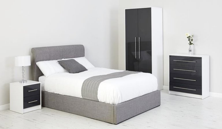 George Home Jaydan Bedroom Furniture Range - White and Graphite Gloss