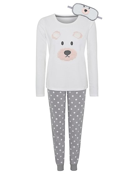 Bear Pyjama Set With Eye Mask Women George At Asda