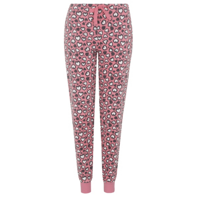 George Heart Print Fleece Pyjama Bottoms - Pink