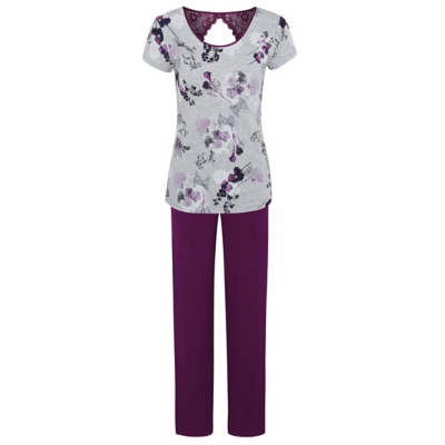 George Floral Print Pyjama Set - Light Grey