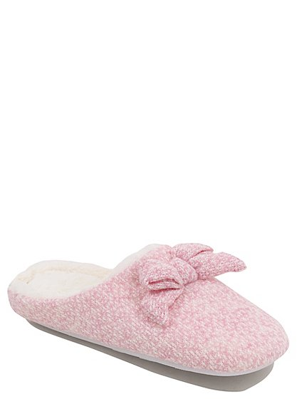 knitted bow mule slippers women george at asda. Black Bedroom Furniture Sets. Home Design Ideas