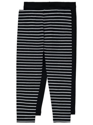 2 Pack Plain and Stripe Leggings