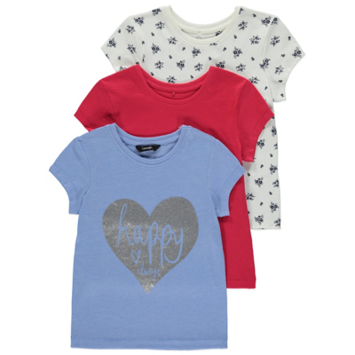 George 3 Pack Assorted Tops - Baby Blue