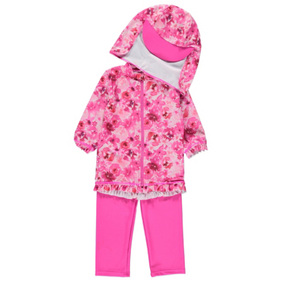 George Floral Print Sun Protection Set - Pink