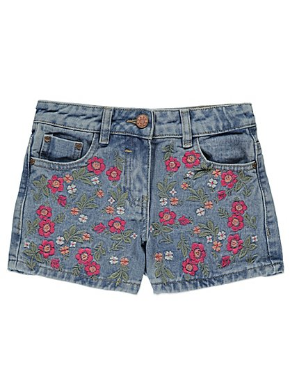 Embroidered denim shorts kids george at asda