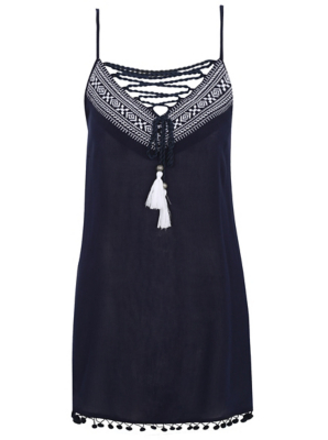 Embroidered Tassel Cover Up Dress