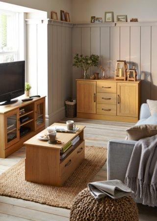 Addison Living Room Furniture Range - Oak Effect