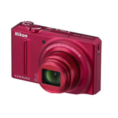 Coolpix S9100 Digital Camera - Red, Red