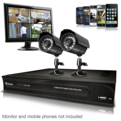 DVR4-1200 2 Camera Security System, Black