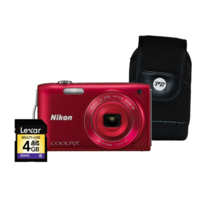 Coolpix S3300 Red Camera Kit inc 4Gb SD