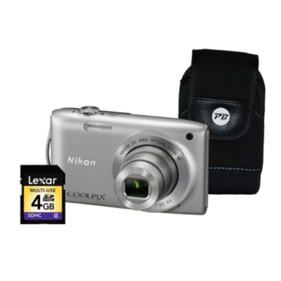 Coolpix S3300 Silver Camera Kit inc 4Gb SD