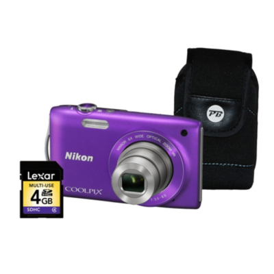 Coolpix S3300 Purple Camera Kit inc 4Gb SD