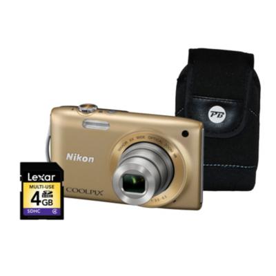 Coolpix S3300 Gold Camera Kit inc 4Gb SD