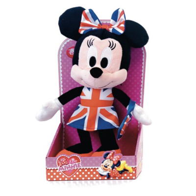 I Love Minnie Plush Toy in Union Jack Dress