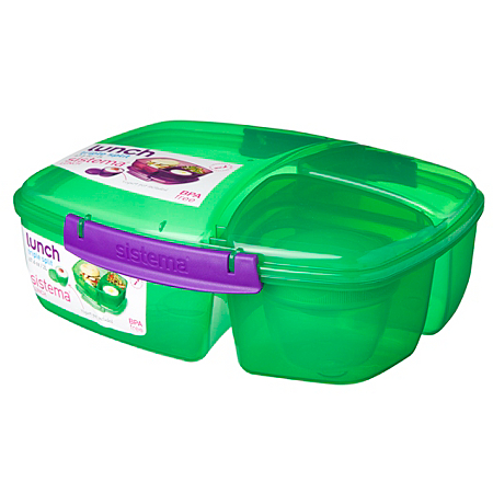 sistema triple split lunch box with yoghurt pot 2 litre. Black Bedroom Furniture Sets. Home Design Ideas