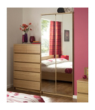 Strasbourg Wardrobe - 2 Door Mirrored - Oak Veneer