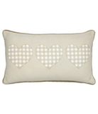 George Home  Gingham Hearts Cushion - 30x50cm