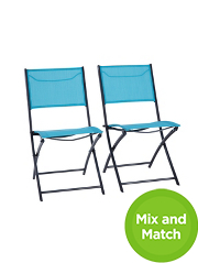 Miami Folding Bistro Chair In Turquoise Pack Of 2