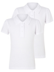 Girls School Scallop Polo Shirts - 2 Pack White