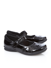 Girls School Patent Embossed Star Shoes