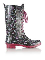 Floral Lace-up Wellington Boots