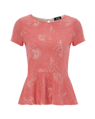 G21 Lace Peplum Top - Coral