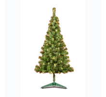 Indoor 6 Foot Pre-lit Green Christmas Tree With Static Lights - 2.8 metre long cable