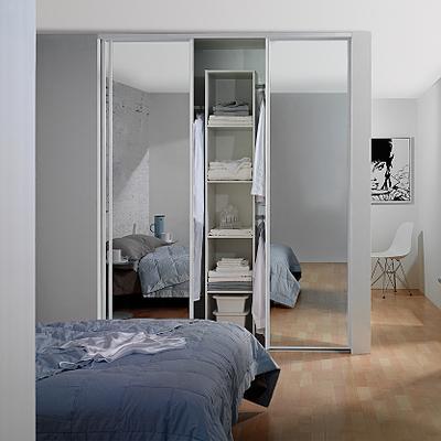 White Framed Mirror Sliding Wardrobe Doors And Track Kit