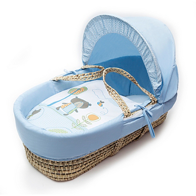 Kinder Valley Tiny Ted Moses Basket In Blue Moses