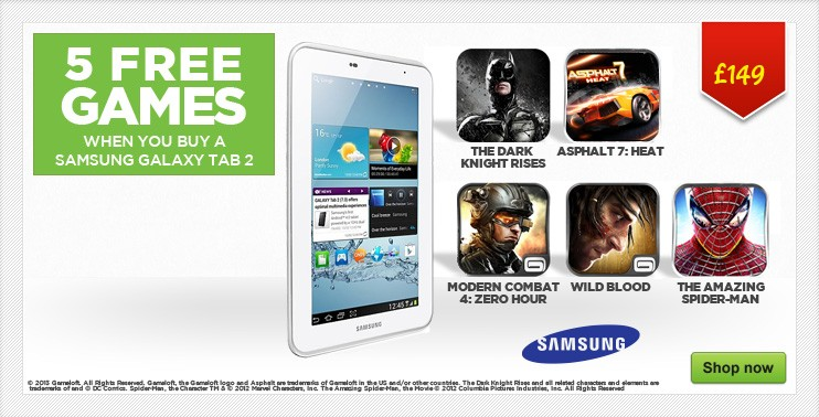 samsung tablet and 5 free games