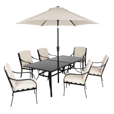 Haversham 8 Piece Patio Dining Set, Black and