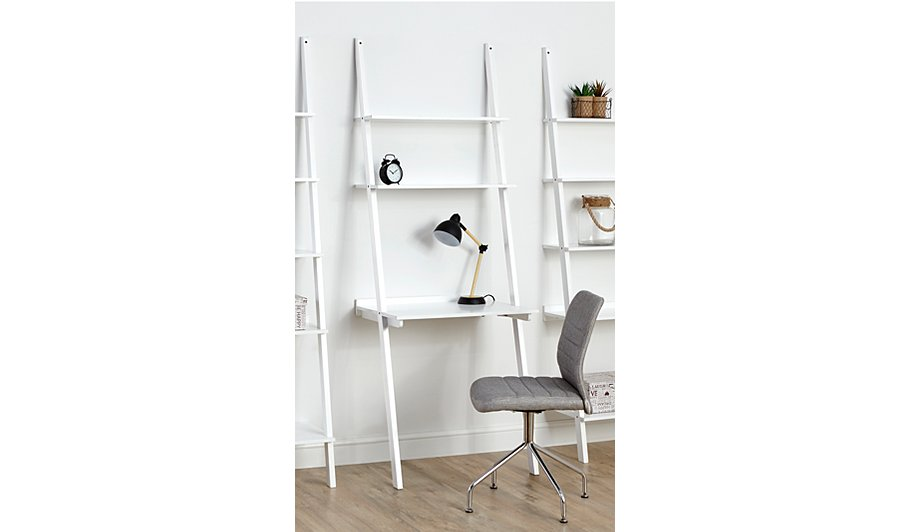 George Home Tamsin Shelving Unit And Desk White View