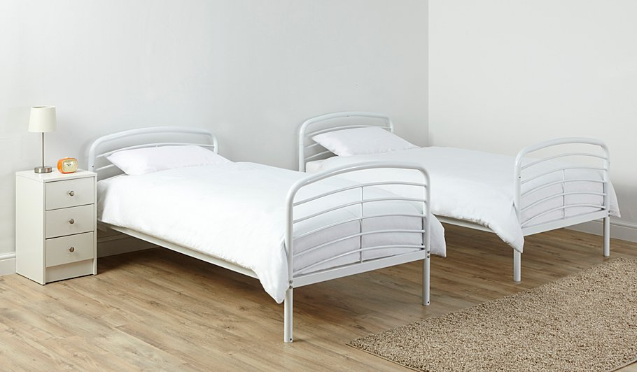 George home metal detachable bunk bed white beds for Detachable bunk beds