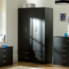 Dublin Black Wardrobe - 3 Door - 4 Drawer main view