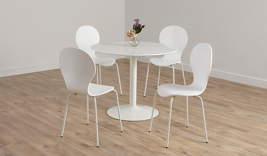 George Home Wyatt Circular Dining Table And 4 Chairs White And Black Dini