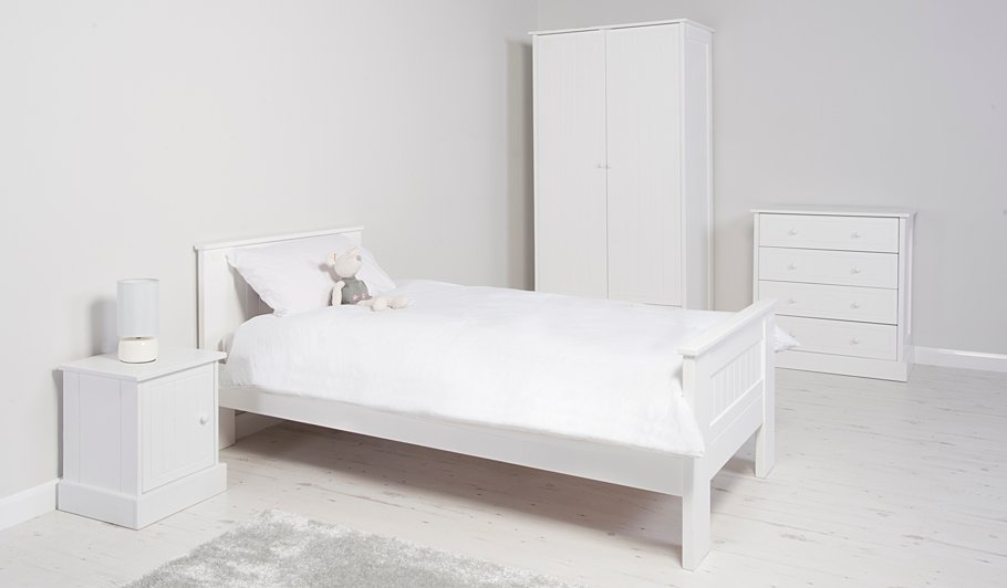 George Home Finley Single Bed With Storage White Beds