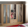Washington 6 Door Glass Wardrobe - Beech Effect main view
