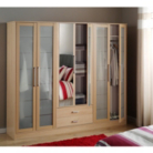Washington 6 Door Glass Wardrobe - Beech Effect