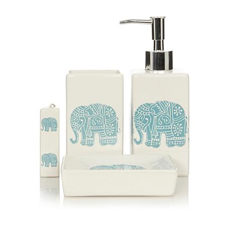 George home elephants bathroom accessories bathroom for Elephant bathroom accessories