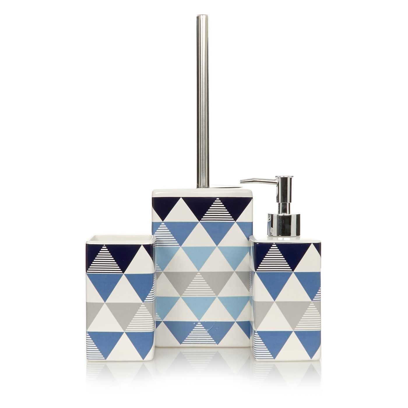 George Home Blue Triangle Print Bathroom Accessories Bathroom